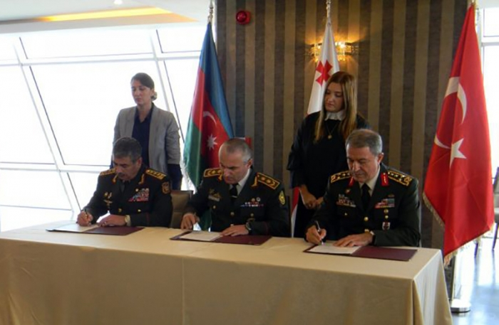 Heads of Azerbaijani, Turkish, Georgian Armed Forces sign joint protocol