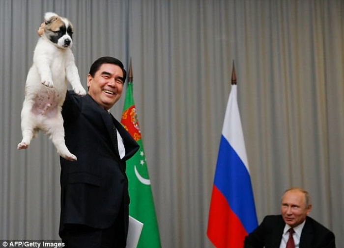 Vladimir Putin receives puppy from Turkmenistan