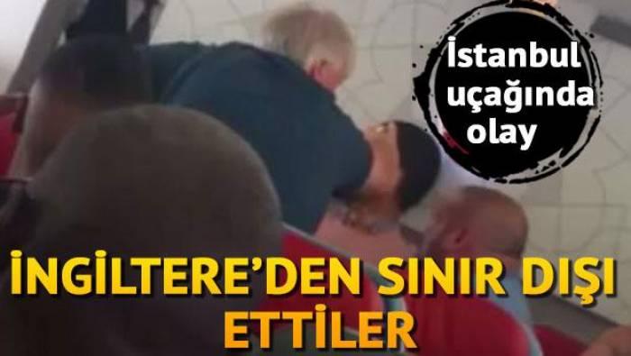 İstanbula uçan təyyarədə insident - Yaşlı kişi sərnişini döydü