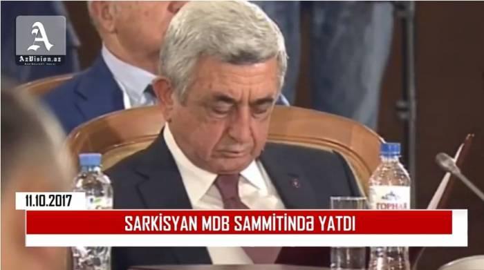 Sarkisyan prezidentlərin görüşündə yatdı - VİDEO