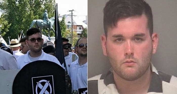 Man accused of ramming car into crowd in Charlottesville had racist rally sign