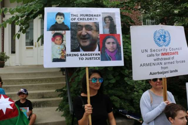 Anti-Armenian protest held in front of Armenian embassy in USA – PHOTOS, VIDEO