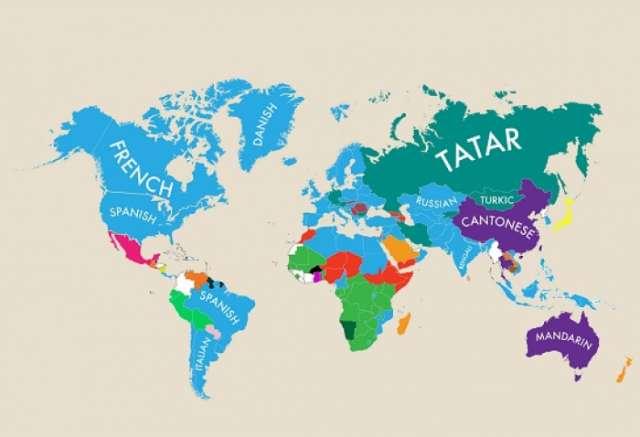 Diese Weltkarte zeigt, welche zweite Sprache in jedem Land gesprochen wird