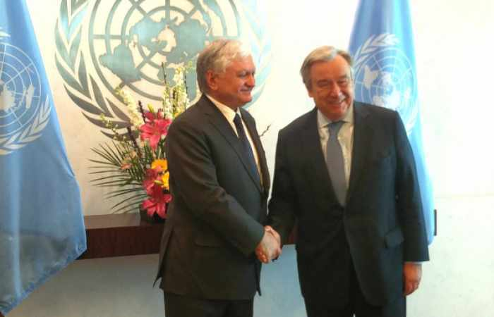 Un-Generalsekretär Guterres und der Außenminister Armeniens diskutieren den Berg-Karabach-Konflikt