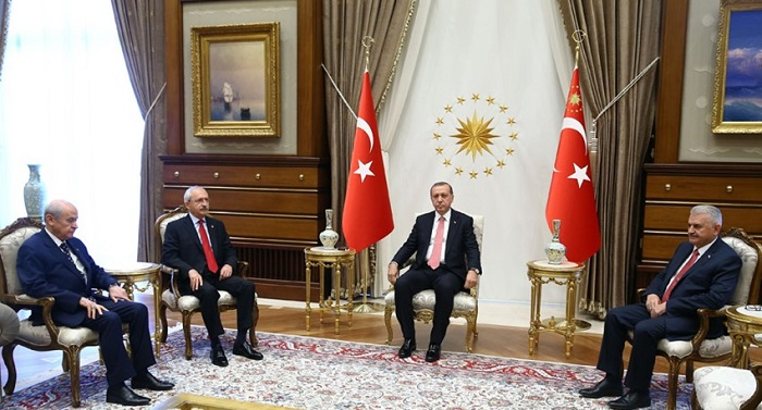 President Erdogan meeting with PM, opposition leaders