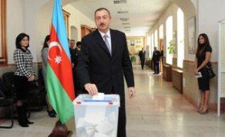 Azerbaijani President participates in voting at presidential election