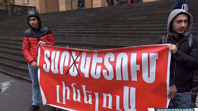 Armenian students stage fresh protest in Yerevan