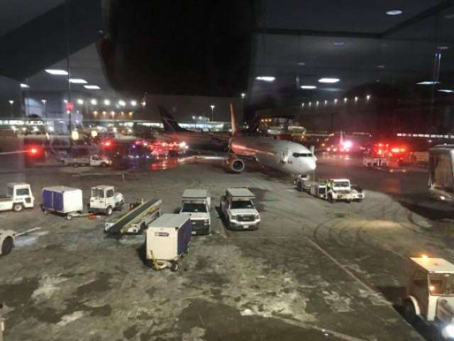 Fire as one plane crashes into another at Toronto Pearson airport