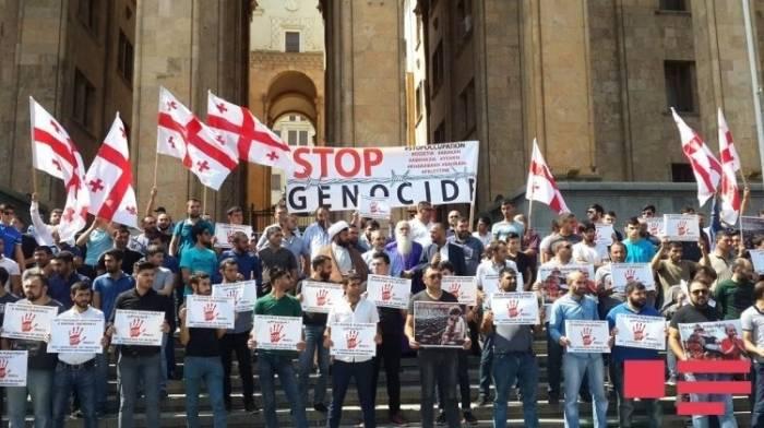 Georgische Aserbaidschaner protestieren gegen Myanmar