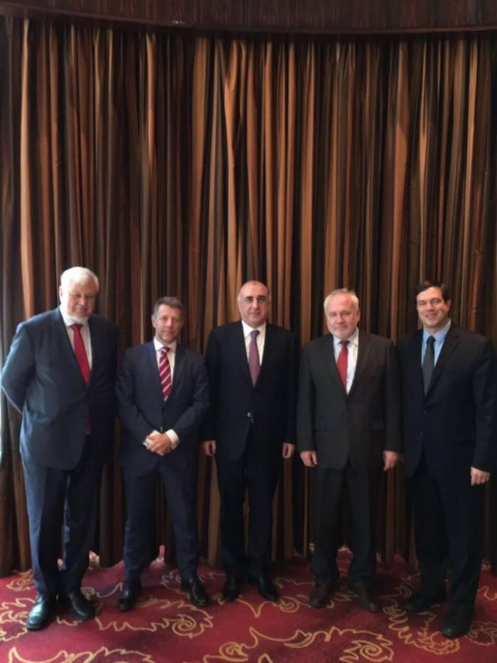 Elmar Mammadyarovs Treffen mit den Co-Vorsitzenden der OSZE-Minsk-Gruppe zu Ende gegangen