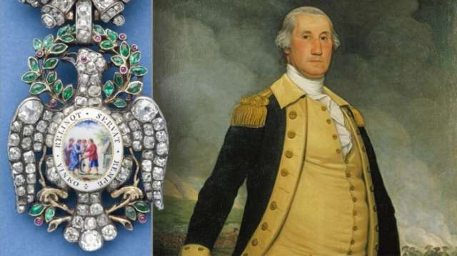 George Washington's jewel-encrusted Revolutionary War medal goes on display