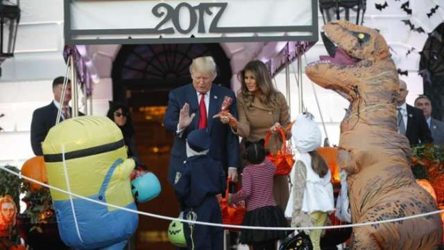 Trump, first lady welcome ghosts, goblins on Halloween eve