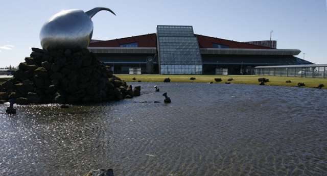 Car drives into arrivals hall of International Airport in Iceland