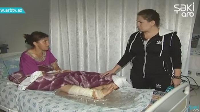 Şəkidə 40 yaşlı qadını ilan sancıb - Video