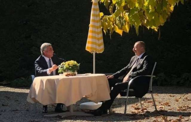 Azerbaijani, Armenian presidents hold one-on-one meeting in Geneva