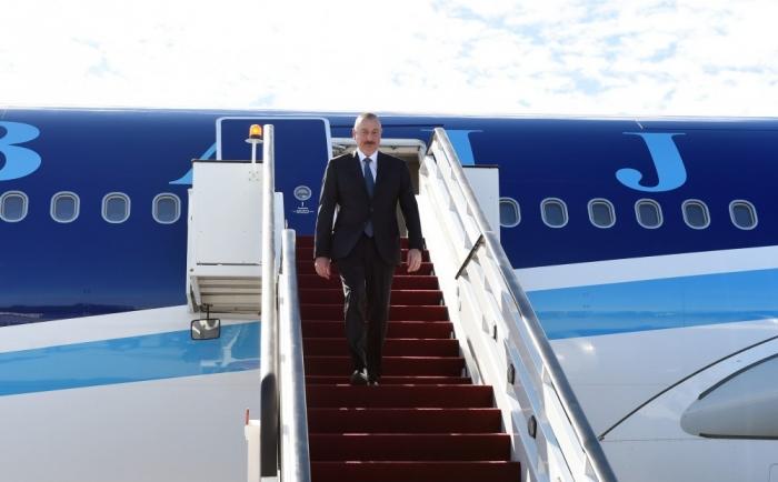 Azerbaijani President Ilham Aliyev arrives in Latvia  for official visit
