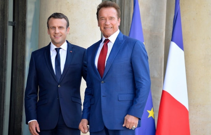 Macron meets Schwarzenegger and vows to stop oil and gas licences