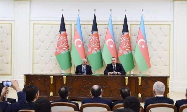 Azerbaijani, Afghan presidents make statements for press