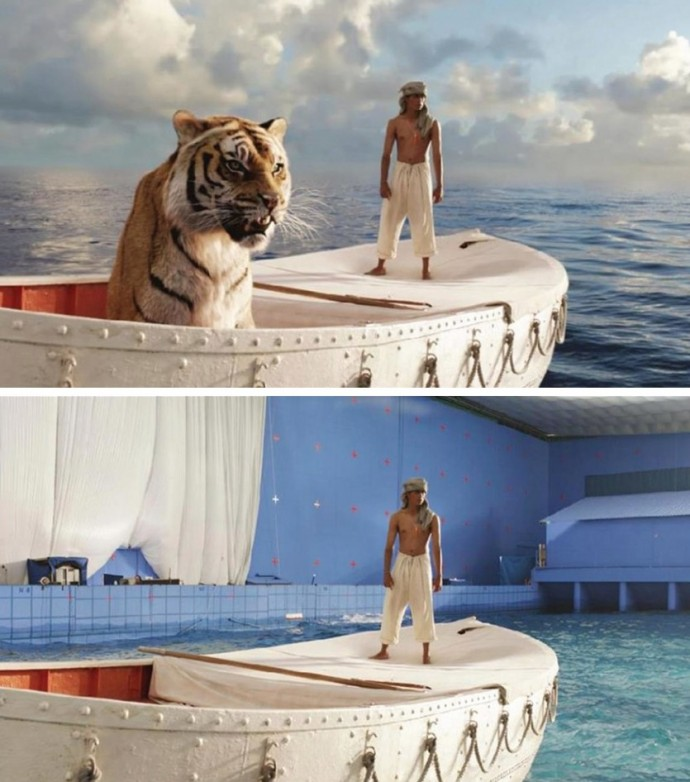 Unbelievable movie scenes before and after special effects for Life of pi pool scene