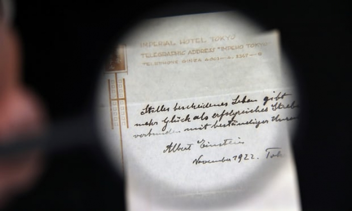 Einstein note about happiness of a modest life sells for $1.5m