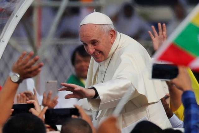 Pope calls for peace in Myanmar on diplomatically fraught trip