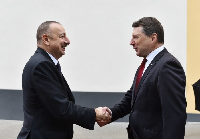 Official welcome ceremony held for Ilham Aliyev in Riga -  PHOTOS