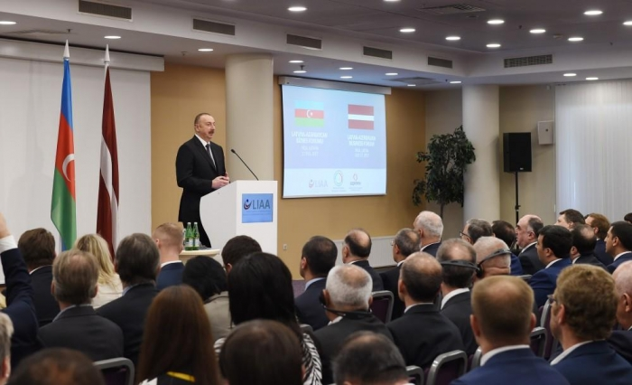 Ilham Aliyev attends Azerbaijan-Latvia business forum in Riga - PHOTOS