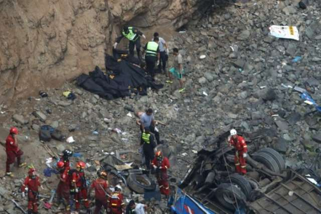 At least 36 dead after bus careens off cliff in Peru