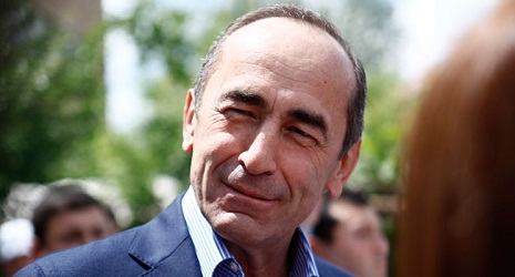 Armenia ex-President Kocharyan supporters protest outside government building