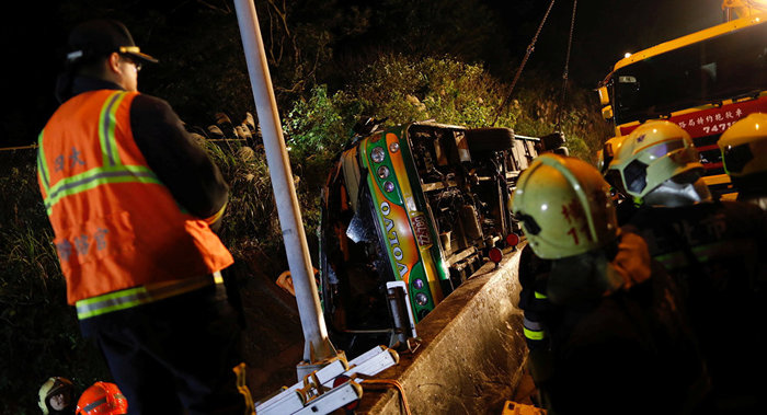 Bus crash in Taiwan leaves 32 people killed, 16 injured