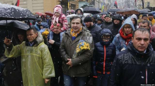 Saakashvili Tells Protesters In Kyiv He Is Ready To Become Ukraine's Prime Minister