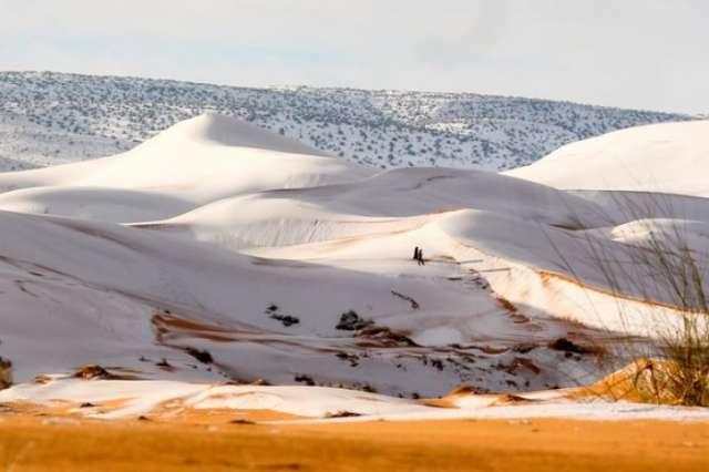 Rare snow blankets Algeria's Sahara Desert