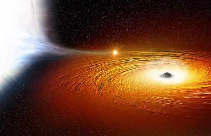 Weißer Zwerg umrundet Schwarzes Loch