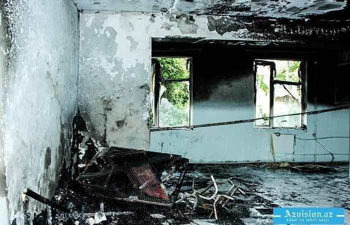 Bakıda 5 otaqlı ev yanıb