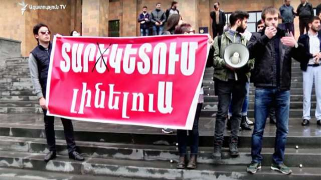 Armenian students again protest in Yerevan -LIVE
