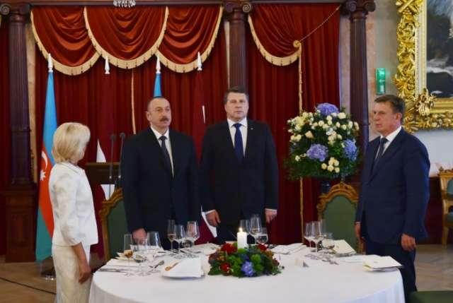 Latvian President hosted official reception for President of Azerbaijan